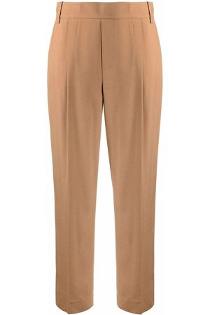Vince Pleat-detail cropped tailored trousers - Neutrals