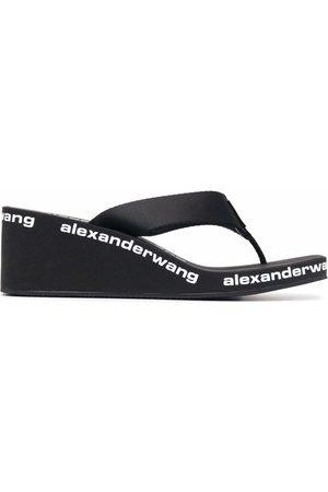 Alexander Wang Women Sandals - Logo-print wedge sandals