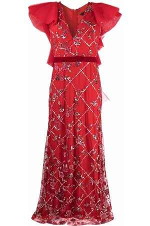 Parlor Crystal-embellished ruffled gown