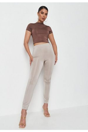 Missguided Women Trousers - Taupe Slinky Basic Leggings, Stone