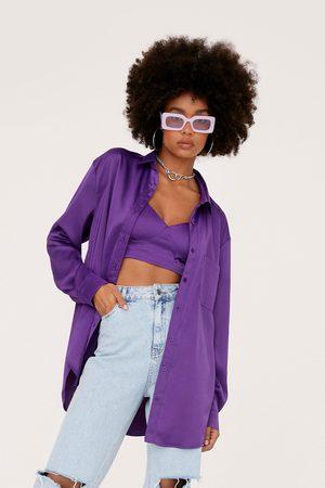 NASTY GAL Womens Oversized Satin Shirt and Bralette Set