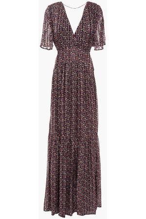 Bash Women Maxi Dresses - Woman Divine Open-back Metallic Printed Chiffon Maxi Dress Size 0