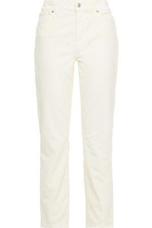 7 for all Mankind Woman Cropped Cotton-blend Stretch-velvet Slim-leg Pants Ecru Size 31