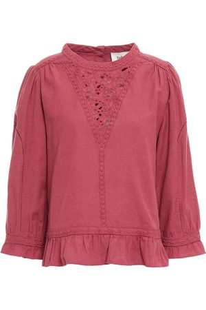 Bash Women Tops - Woman Lola Broderie Anglaise-trimmed Linen And Cotton-blend Top Antique Rose Size 0
