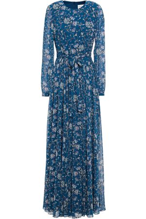 MIKAEL AGHAL Woman Gathered Belted Floral-print Chiffon Maxi Dress Petrol Size 10