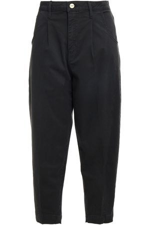 Frame Women Trousers - Woman Cotton-blend Twill Tapered Pants Charcoal Size 24