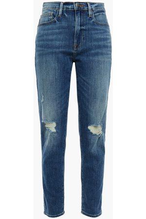 Frame Women Slim - Woman Distressed High-rise Slim-leg Jeans Mid Denim Size 23