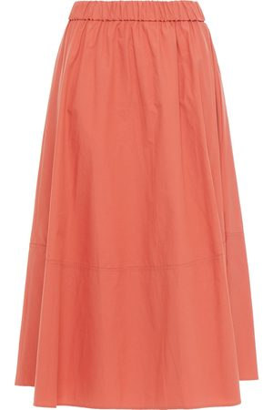 Bash Woman Piel Gathered Cotton-poplin Midi Skirt Peach Size 0