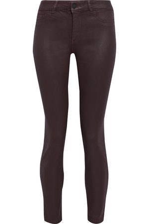 DL1961 Women Skinny - Woman Florence Coated Mid-rise Skinny Jeans Grape Size 25