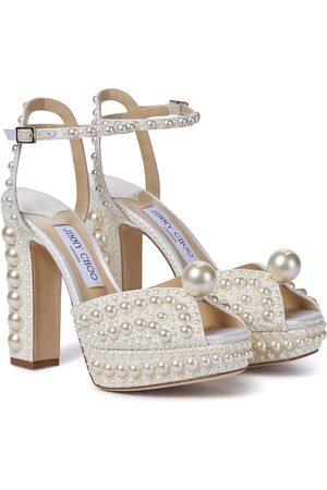 Jimmy Choo Women Sandals - Saracria 120 embellished satin sandals