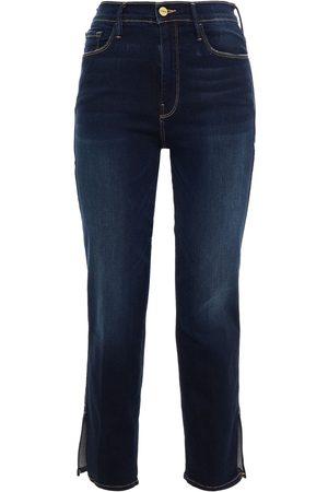 Frame Women Slim - Woman Le Sylvie Cropped High-rise Slim-leg Jeans Dark Denim Size 23