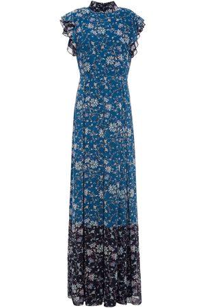 MIKAEL AGHAL Woman Pleated Ruffled Floral-print Chiffon Maxi Dress Petrol Size 10