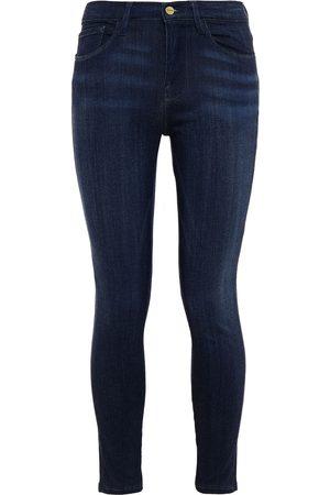 Frame Women Skinny - Woman Le Skinny De Jeanne Cropped Mid-rise Skinny Jeans Dark Denim Size 23