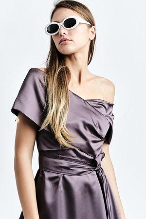 DALB A Dress (Plum Cape-effect Silk-blend Midi Dress with Asymmetric Hem)