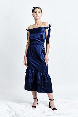 DALB SANZIENE Dress ( Silk-blend Midi Dress with Asymmetric Ruffled Hem)