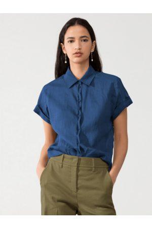 Luisa Cerano Short Sleeve Ramie Blouse Indigo 238324/3270