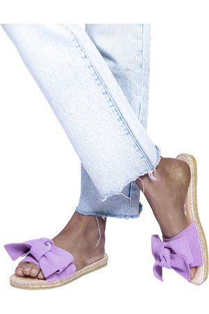 MANEBI Sandals with bow - lilac suede; hamptons