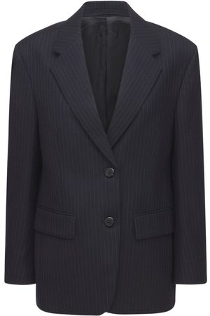 Prada Back Logo Pinstripe Wool Flannel Jacket