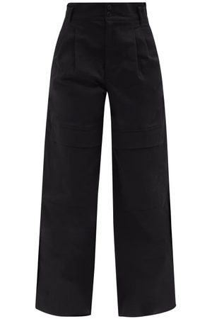 Moncler High-rise Cotton Wide-leg Trousers - Womens