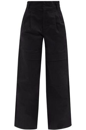 Moncler Women Wide Leg Trousers - High-rise Cotton Wide-leg Trousers - Womens