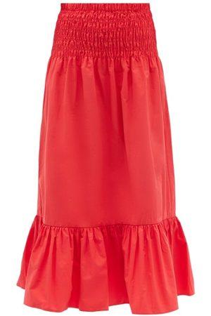 Rhode Artie Shirred Cotton Midi Skirt - Womens