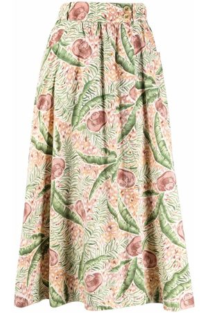 Hermès Women Midi Skirts - 1980s pre-owned leaf-print midi skirt
