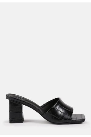 Missguided Croc Faux Leather Block Heeled Mule Sandals