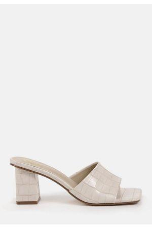 Missguided Cream Croc Faux Leather Block Heeled Mule Sandals, Cream