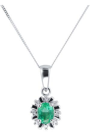 GOLDSMITHS 9ct White Gold Emerald & Diamond Pendant