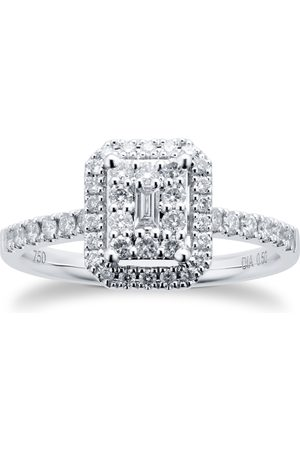 GOLDSMITHS 18ct White Gold 0.50cttw Diamond Emerald Cut Cluster Ring - Ring Size I