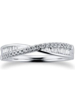 GOLDSMITHS 18ct White Gold Cross Over 0.25ct Diamond Ring - Ring Size I