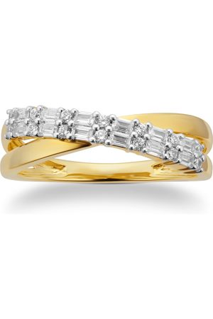 GOLDSMITHS 9cttw Yellow Gold 0.25cttw Baguette Cut Cross Over Eternity Ring - Ring Size I