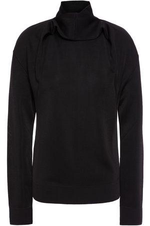 NINA RICCI Woman Draped Stretch-knit Turtleneck Sweater Size L
