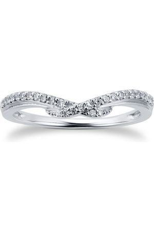 GOLDSMITHS 9ct White Gold 0.25cttw Cross Over Ring - Ring Size I