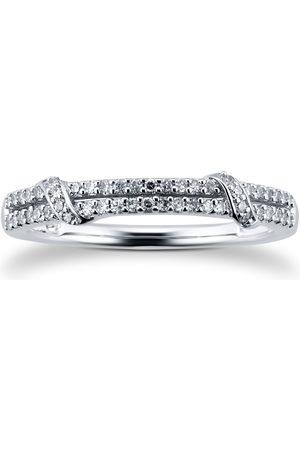 GOLDSMITHS Women Rings - 9ct White Gold 0.15cttw Diamond Rope Wrap Eternity Ring - Ring Size I