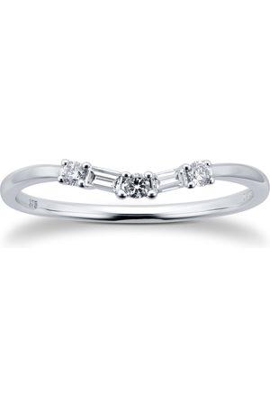 GOLDSMITHS 9ct White Gold 0.15cttw Diamond Mixed Cut Wedding Ring - Ring Size I