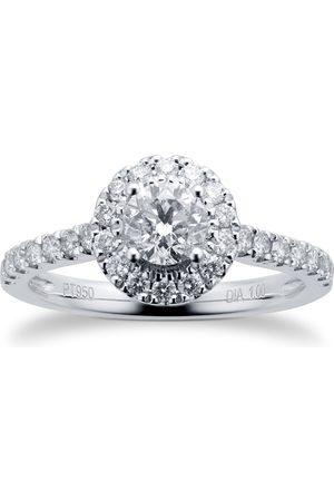 GOLDSMITHS Platinum 1.00cttw Diamond Halo Ring - Ring Size I