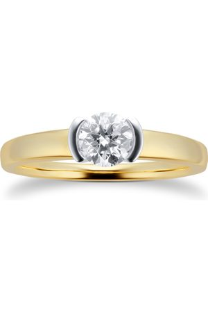 GOLDSMITHS 9ct Yellow Gold 0.50ct Half Bezel Solitaire Diamond Ring - Ring Size I