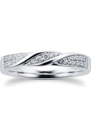 GOLDSMITHS Platinum 0.15cttw Diamond Twist Wedding Ring - Ring Size I