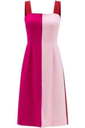 Dolce & Gabbana Square-neck Panelled Wool-blend Crepe Dress - Womens - Multi