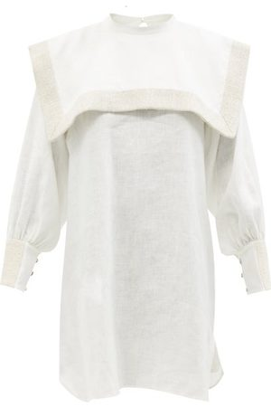 Les Vacances d'Irina Puritan Square-collar Linen Mini Dress - Womens
