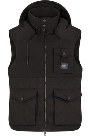 Dolce & Gabbana Men Body Warmers - Logo-plaque sleeveless hooded gilet