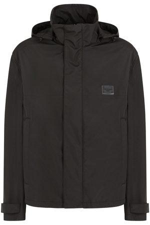 Dolce & Gabbana Men Sports Jackets - Logo-plaque hooded windbreaker jacket