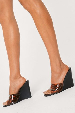 NASTY GAL Womens Tort Print Clear Square Toe Wedges