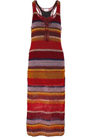 ANNA KOSTUROVA Marsala striped crochet maxi dress