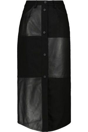 DAVID KOMA Denim and leather midi skirt