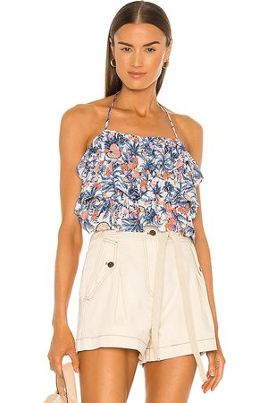 LINE & DOT Sunday Ruffle Tropical Print Halter Top in . Size M.