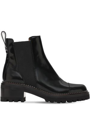 SEE BY CHLOÉ 40mm Mallory Brushed Leather Ankle Boots