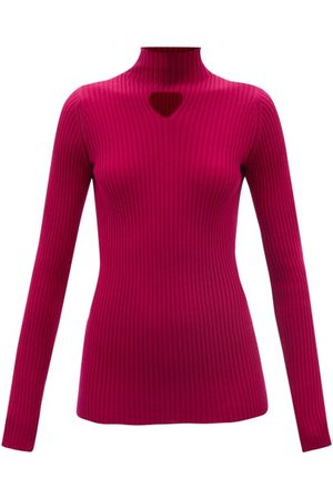 Bottega Veneta Triangle-cutout Ribbed Wool-blend Top - Womens