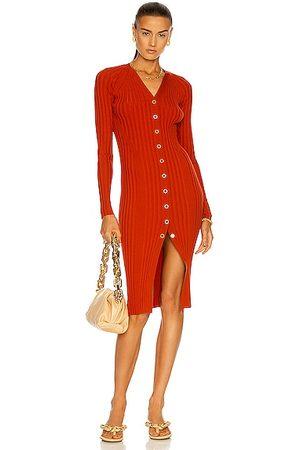 DION LEE Merino Cardigan Dress in Rust